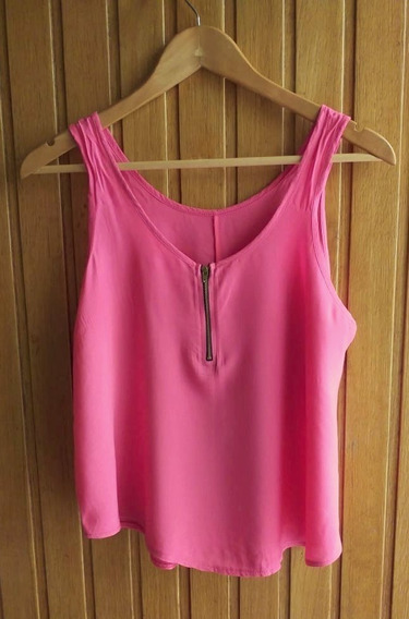 Remera Musculosa De Fibrana Rosa Con Cierre En Escote