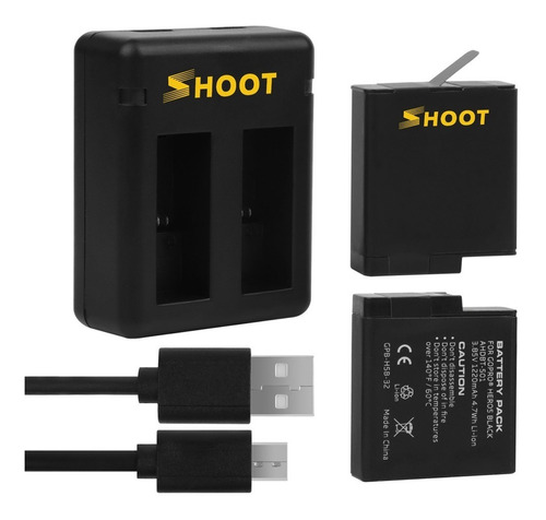 Kit Para Gopro Cargador Dual + 2 Baterias Hero 7 6 5 Black