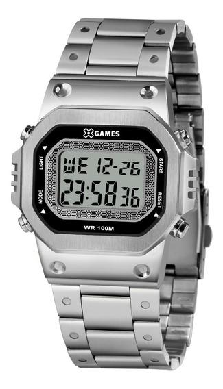 Relógio Masculino Prata Digital Quadrado X-games Original+nf