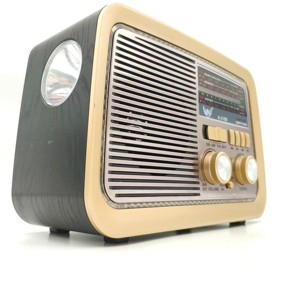 Rádio Retro Vintage Am Fm Sw Usb - Pilha Bateria E Tomada