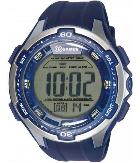 Relógio X-games Digital Masculino Mbss117 Sport Azul E Prata