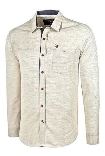 Camisa Vestir Hombre Polo Club Ca02862 Manga Larga Beige T3