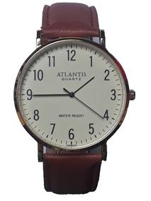 Relógio Masculino Atlantis Dourado Pulseira De Couro G3493c