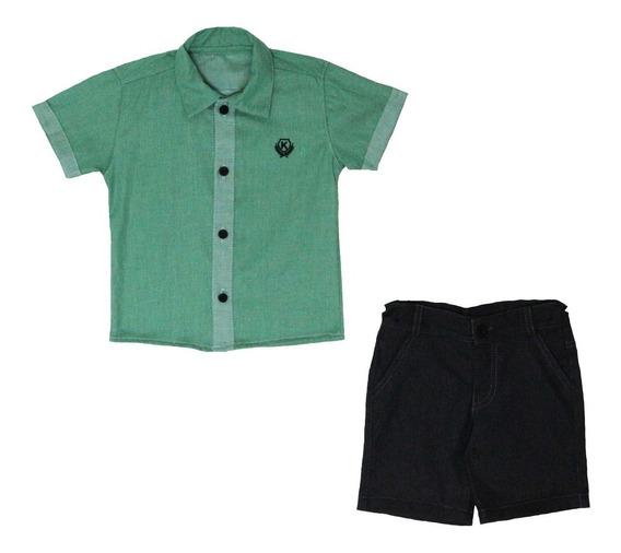 Conjunto Infantil Menino Tam 1 Ao 4 Preto/verde Katitus 1379