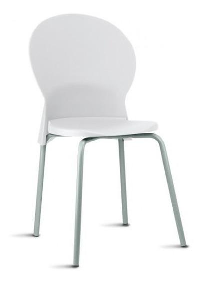 Cadeira Luna Fixa Assento E Encosto Em Polipropileno Branca
