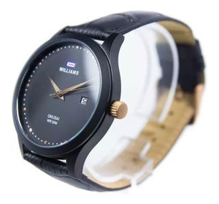 Reloj Hombre Williams Wih0064 Okusai Cuero Negro Marron Sumergible 50 Mts Calendario Dorado 1 Año Garantia