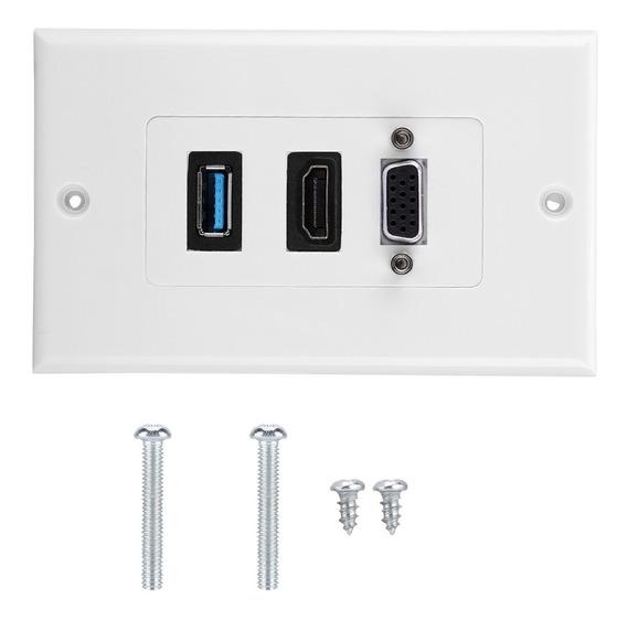 Us 3-porta Vga Hdmi Usb3.0 Socket Adaptador De Painel De Mon