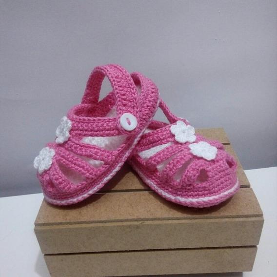 Sandalia/sapatinho De Crochê Modelo Babuche Para Bebes