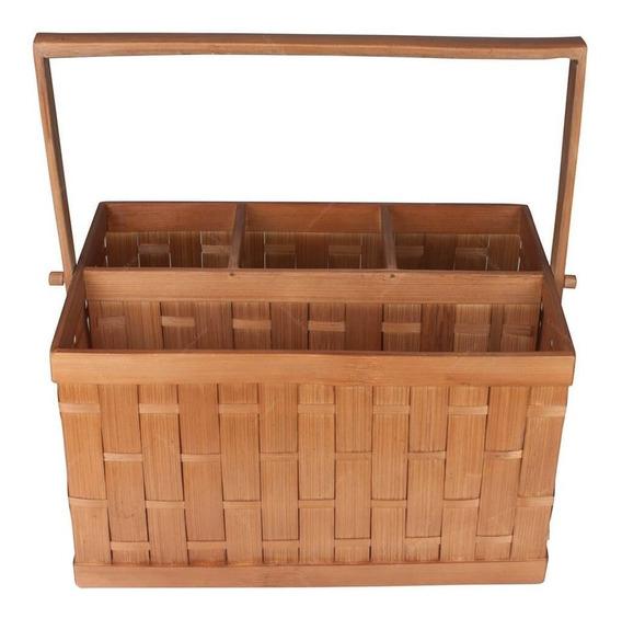 Porta Talheres Weave Em Bambu C/ 4 Divisórias 27x18 Cm