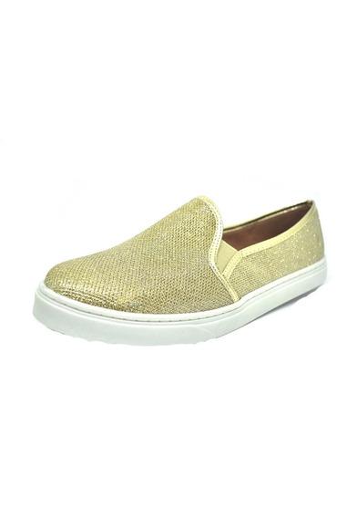 Sapatos Femininos Slip On Slipper Lurex Dourado Dani K