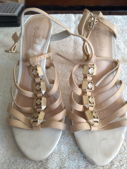 Sandália Bege E Dourada