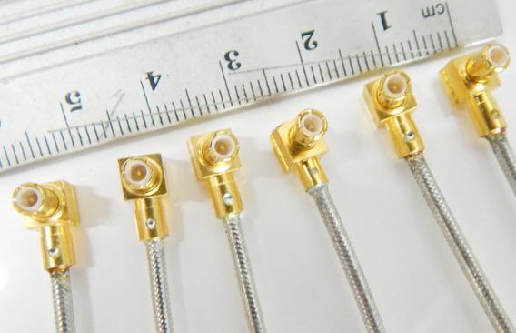 Lote Mini Conectores Rf Coaxial Com Cabo Folheado Ouro