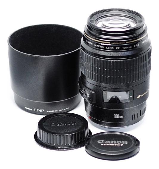 Lente Canon 100mm Macro Ef Usm F/2.8 Impecável C/ Garantia