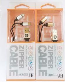 Cabo Ziper Carregador 2 Em 1 Iphone 5, 6,7  E Samsung