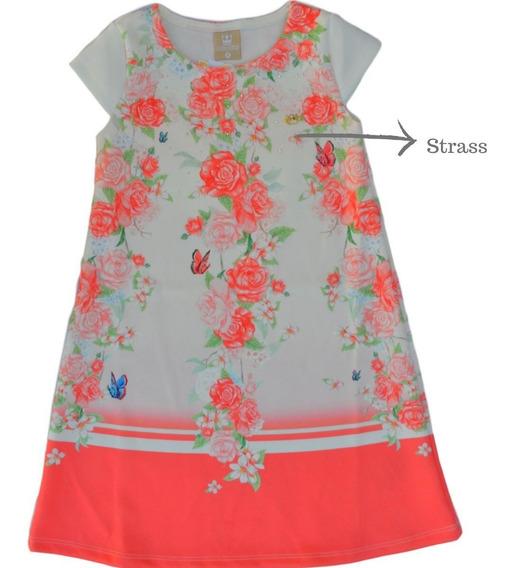 Vestido Trapézio Neoprene Lançamento Menina Verão Flores