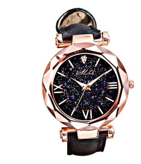 Relógio Feminino De Pulso Barato Luxo Preto Lindo Promoção