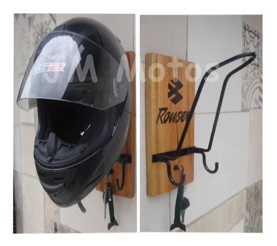 Porta Casco Moto Perchero Madera Hierro 33x14 Jm Motos