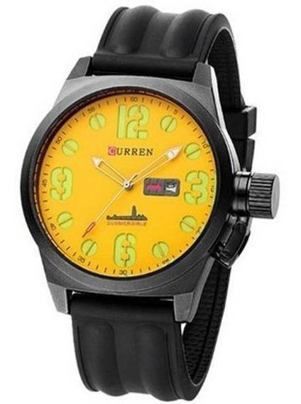 Relógio Masculino Curren 8127 Amarelo E Preto