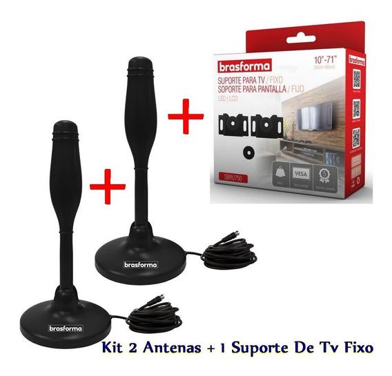 2 X Antena Digital Hdtv + 1 Suporte Tv 10-71 Polegadas - Kit