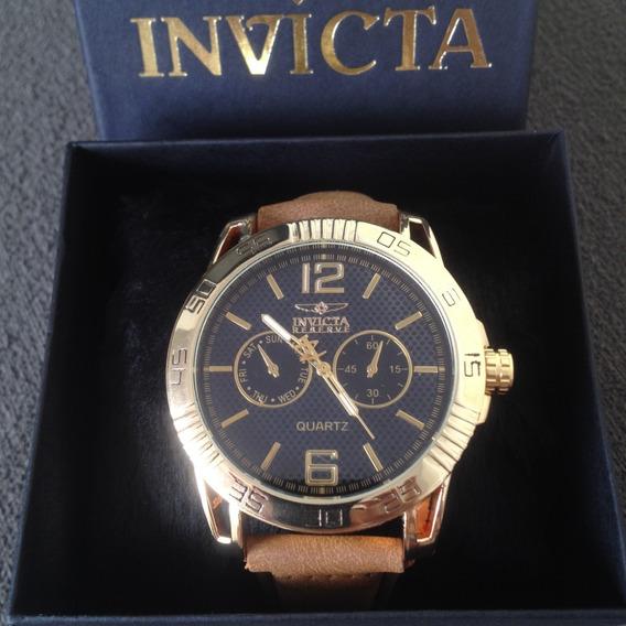 Relógio Masculino Pulseira Couro+ Caixa Presente- Promoção