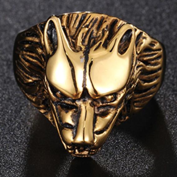 Anel Aço Inox Lobo Dourado Ouro 18k Ouro Hip Hop Lxbr A144