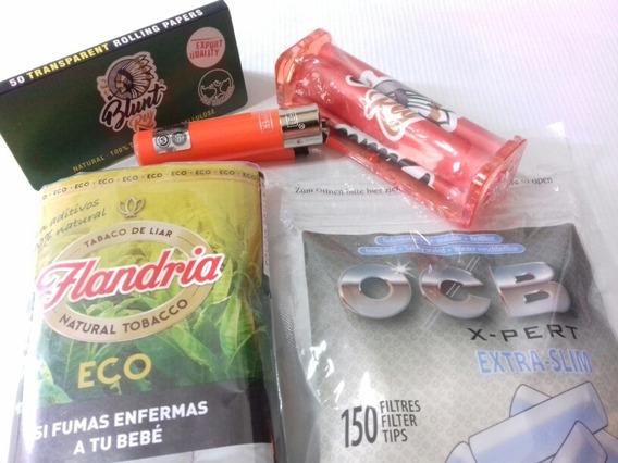 Kit Armador Cigarrillos + Papel + Encendedor + Tabaco + Ocb