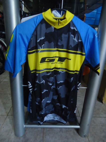 Jersey Remera Ciclismo Gt Camuflada Azul - Racer Bikes