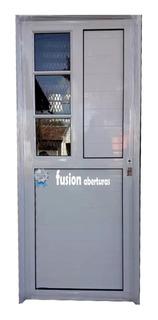 Puerta Aluminio Blanco Con Lateral Reforzado 80 Ciega Pesada