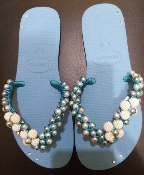 Sandália Customizada Com Pérola Havaiana