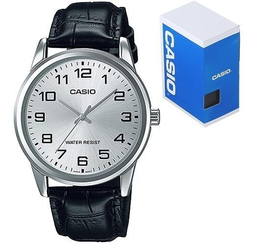 Reloj Casio Mtpv001 Piel Negra Cara Plata - Cristal Mineral