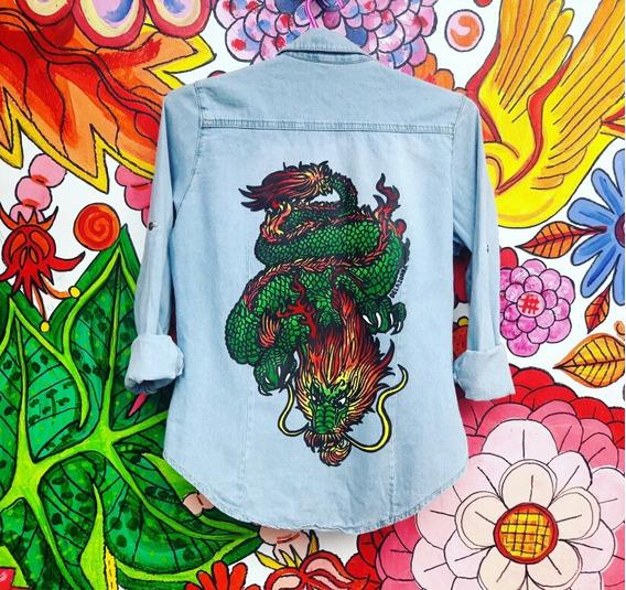 Camisa Celeste O Azul Mujer Dragon Chino Estampado Oriental