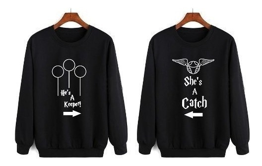 Dúo Sudaderas Sin Gorro P/pareja Harry Potter Quidditch