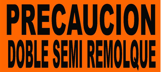 Lona Precau Doble Semi Remol Letr Reflejan 1.5x0.75 Naranja