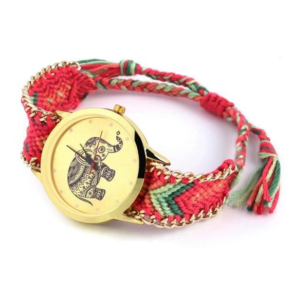 Reloj Dama Tejido Elefante Vintage Bordado Retro Moda Mex