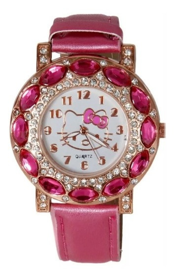 Relógio Infantil Pulso Para Menina Hello Kitty Com Strass