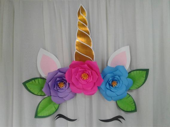 3 Flores De Papel Gigantes Y Unicornio, Ver Descripción