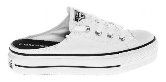 Zapatillas Converse All Star Plataforma Mule Slip Blanco