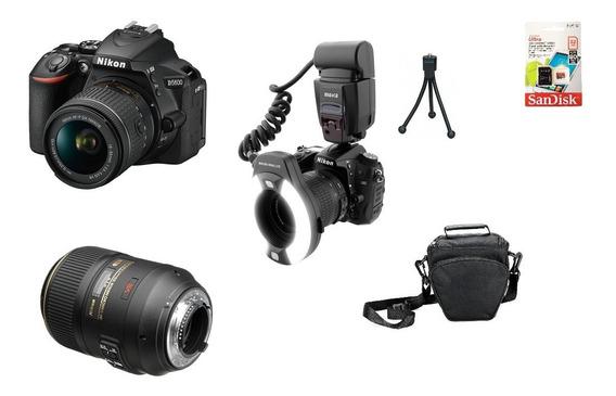 Kit Dentista Nikon D5600 + Lente 105mm Macro + Mk-14ex Sjuro