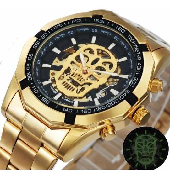 Relógio T Winner Grandmeister Caveira Skull Watch Waterprof