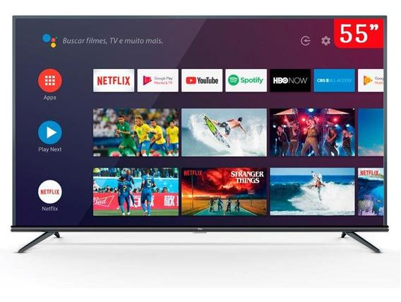 Tv Led 55 Polegadas Tcl 55p8m 4k Uhd Hdr Com Android Preta