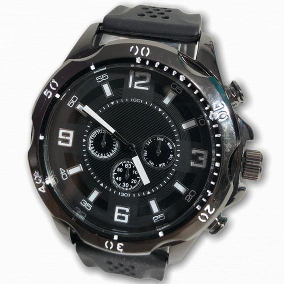 Relógio Masculino Couro/ Borracha + Bateria Reserva Presente