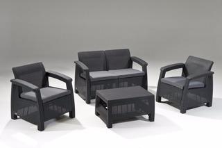 Sala Lujo Tipo Rattan 4pzas Patio Jardín Lounge Terraza Msi