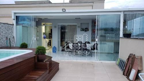 Cobertura Com 3 Dormitórios À Venda, 142 M² Por R$ 620.000,00 - Maria Paula - São Gonçalo/rj - Co0379