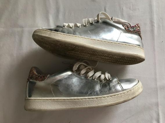 Super Sale! Zapatillas Plateadas Glitter. T 35 (con Detalle)
