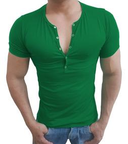 Camisa Henley Viscolycra Masculina Slim Botão Press Mc Sjons