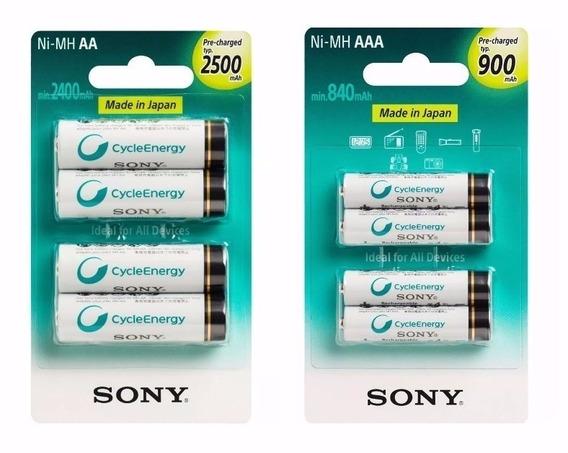 Kit Pilhas Recarregaveis Sony C/4 Aa 2500 Mah+4 Aaa 900 Mah