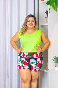 Conjunto Blusa + Short Moda Plus Size Roupas Femininas