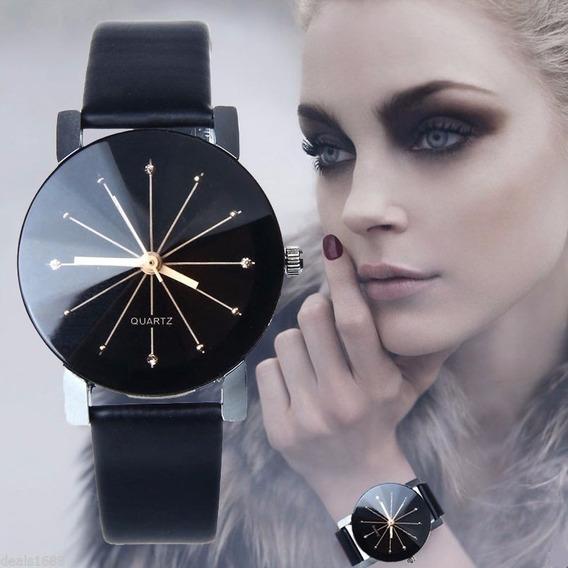 Relógio Feminino Pulso Preto Barato Luxo Pulseira Couro Imp
