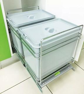 Porta Residuos Doble -extraible- Fijación Piso- Bajo Mesada