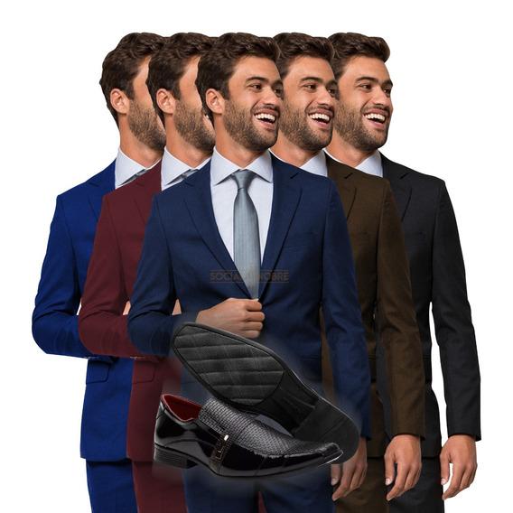 Terno Slim Masculino Oxford 2 Botoes + Sapato Social Brinde